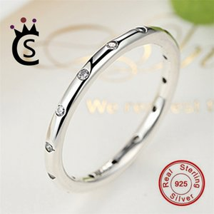 Wholesale Authentic 925 sterling silver jewelry Ring round Ring Christmas gift real silver Jewelry zircon ring VS pandora