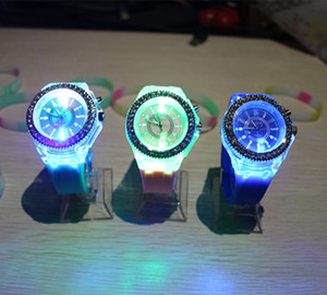 Wholesale watch coupling free for sale - Group buy DHL free Hot Luminous colorful LED GENEVA Wrist Watch Korean fashion watches unisex men and women fashion casual watches couple watches