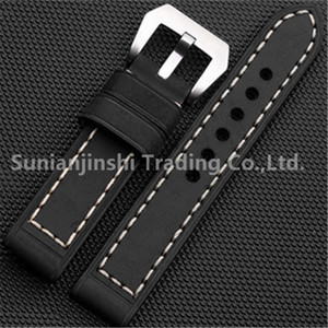 Wholesale Handmade mm Black Vintage Men Leather Watchband Strap Stainless Buckle Replacement Watch Bracelet For Panerai