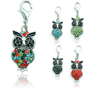 Wholesale Hot Brand New Fashion Floating Charm Alloy Lobster Clasp Rhinestone Color Owl Charms Pendants Jewelry Accessories