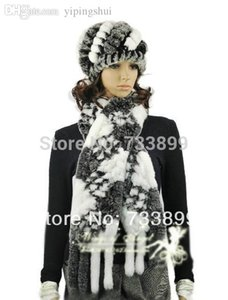 Wholesale H289 Elegant plaid gray white cap with natural rex rabbit fur autumn knitted warm women fur scarf and hat set winter