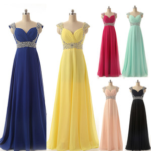 Cheap Chiffon Formal Occasion Prom Evening Dresses Beads Yellow Red Silver Royal Blue Mint Blush Bridesmaid Party Gowns Long Real Image 2016 on Sale