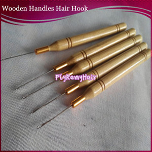 Wholesale hair bags for tools resale online - Hook Needles units per bag Wooden bamboo Handle Simple Pulling Needle Micro Ring Tools for I tip hair extension hooks
