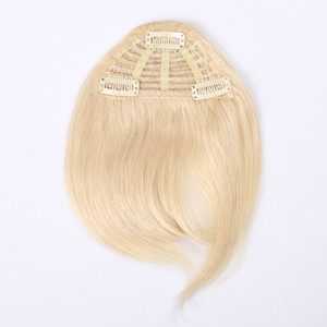 3 Clips pcs 7 Inch Black Brown Bonde Color Combination Human Hair Extension Fringe Hair Clips in Easy Apply Human Hair Bangs