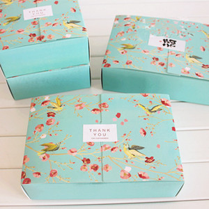 Free shipping 20PCS big blue flower birds decoration bakery package dessert candy cookie cake packing box gift boxes supply favors
