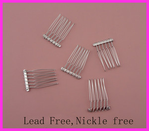 20pcs 2.5cm*3.7cm 6teeth Silver Finish Plain Metal Hair Combs at lead free and nickle free,hair accessories side combs for DIY Tiaras