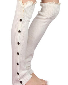 Wholesale 8 colors sexy Crochet Button Down Boot Cuffs lace Button Braid Knit Leg Warmers Boot Socks Knee High Socks Frozen pair