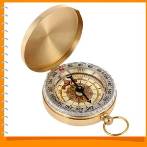 Wholesale G50 Golden Antique Brass Mini Navigation Pocket Compass Noctilucent Vintage Compass for Outdoor Camping Hiking