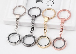 10PCS lot 30MM Rhinestones Round Floating Locket Key Chains Glass Living Magnetic Charms Locket Keychain