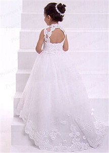Wholesale silver pricing chart resale online - Hot Sale Price Toddler Dress Ball Gown High Neck Floor Length Tulle Flower Girl Dress With Appliques FG038