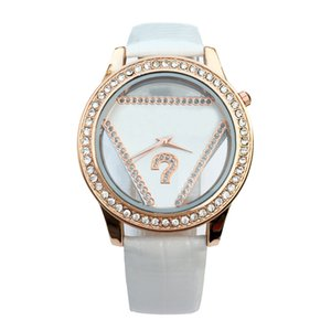 Fashion Brand women's Girl crystal triangle style dial leather strap quartz wrist watch GS05
