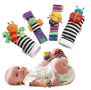 20pcs lot Rattle Baby Toys High Contrast Garden Bug Wrist Rattle + Foot Socks 20pcs a set Colorful H00862 on Sale