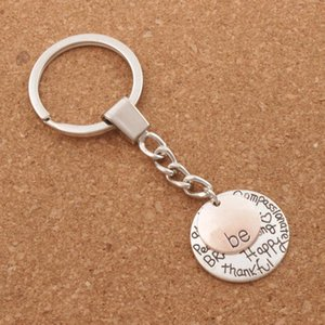 Wholesale Be Happy Keychain Bag Pendant Be Friend Brave Happy Strong Car Key Chain Ring Holder K1622