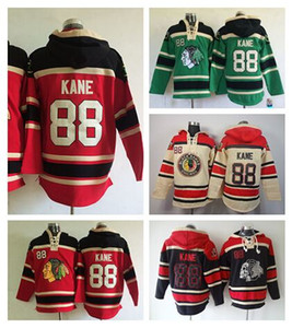 Wholesale Patrick Kane Hoodie 88 Chicago Blackhawks Hoody Red Green Black Green Kane Old Time Sweatershirt Pullover Ice Hockey Hooded
