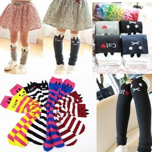 Wholesale Toddlers Kids Girls Cotton Cat Striped Soft Knee High Socks Y Tights KHS005