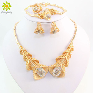 African Beads Fine Jewelry Sets For Women Crystal Flower Pendant Necklace Bracelet Ring Earrings Sets Wedding Accessories