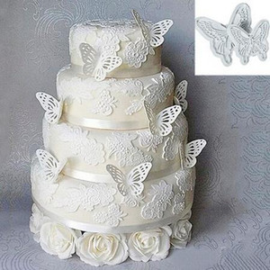 Wholesale fondant butterfly cakes resale online - 2pcs Butterfly Cake Fondant Decorating Sugar craft Cookie Plunger Cutters Mold