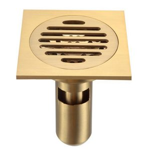 "Bathroom Shower Floor Drain with Removable Strainer , Polished Brass 4"" on Sale"