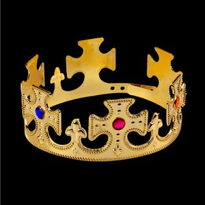 Fashion New Year Novelty Kids Crown Headband Gold Silver Bling Hair Band For Boys Girls King Queen Headwear Costume