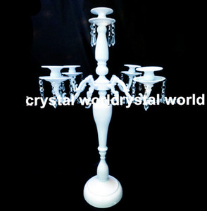 Wholesale white candelabra wedding for sale - Group buy crystal wedding centerpiece crystal candle holder white Candelabra