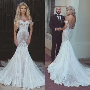 Vintage Off The Shoulder Mermaid Wedding Dresses 2018 New Design Full Lace Appliqued Backless Bridal Gowns Sexy Sweep Train Wedding Dress