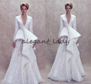2018 Ashi Studio Long Sleeve evening dresses Plus Size Custom Make Ruffles Lace Peplum V-neck Princess women fashion prom gowns on Sale