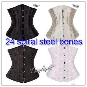 24 Steel Bone Waist Cincher Trainer Waist Training Corsets Body Shaper Underbust Corset Plus Size Waist Cincher Black White Khaki