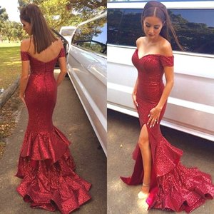 Red Sequins Mermaid Side Split Evening Dresses With Sexy Off Shoulder Back Zipper Sweep Train Elegant Prom Party Dresses Wedding Guest Gowns