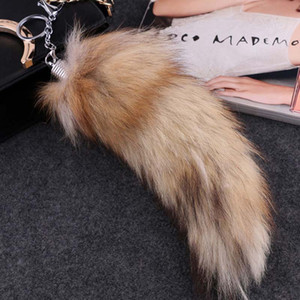 Big Size Fluffy Sunny Fox Tail Fur Cosplay Toy Handbag Accessories Key Chain Ring Hook Tassels Black Brown Christmas Gift