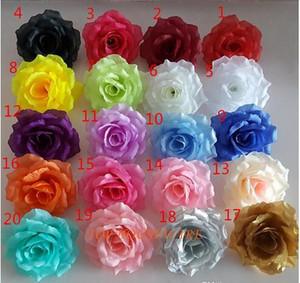 200pcs rose 10cm 20colors Artificial fabric silk rose flower head diy decor vine wedding arch wall flower accessory Free freight