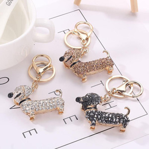 Crystal Rhinestone Dog Dachshund Keychain Cute Dogs Bag Charm Pendant Keys Holder Ring Chain Keyring Jewelry Free DHL D293L