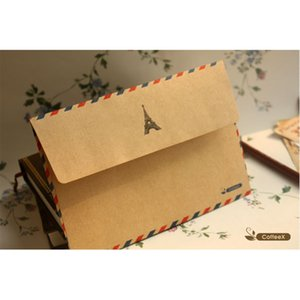 Wholesale 10pcs Hot Coffee Distinctive kraft Air Mail Retro Postcard Envelope Letter Stationary Paper Xmas Gift