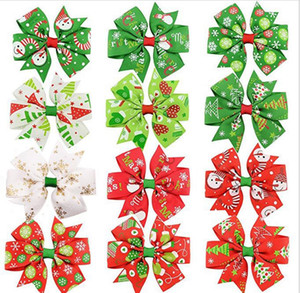 3 inch Baby Bow Hair Clips Christmas Grosgrain Ribbon Bows WITH Clip Snow Baby Girl Pinwheel Hairpins Xmas Hair Pin Accessories