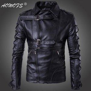 Wholesale- AOWOFS Brand Men leather jackets coats New degisn Europe and America Fashion motorcycle leather jacket Big Size 5XL Black jaket on Sale