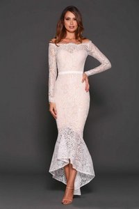 Wholesale Sexy 2019 New Latest White Lace Off Shoulder Tea Length Cocktail Dresses Vintage Long Sleeve High Low Mermaid Party Formal Gowns 407