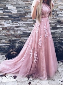 Wholesale Real Image Pink Lace Prom Dresses Sexy Backless Dresses Evening Wear Formal Evening Dress Long Appliques Floral Vestidos Formales De Noche