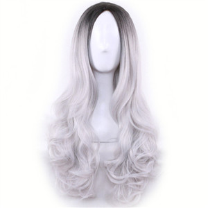 Long Cheap Cospaly Wig Harajuku Lolita Wig Black Ombre Grey Body Wave Synthetic Hair Mix Color Wigs for Women Synthetic Wig on Sale