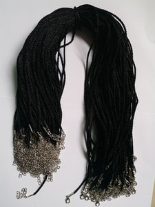 100pcs Black Satin Silk Necklace Cord 2.0mm 18'' 20'' 22'' 24'' with 2'' Extension Chain Lead&nickel Free