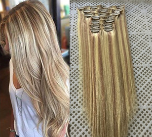 "14""-26"" 9pcs Set 18 Clips 100G 120G 140G Piano Color #18 613 Clip in Human Hair Extensions Brazilian REMY Clip in Hair Extensions on Sale"