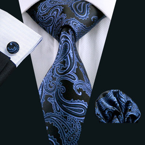 Fast Shipping Mens Tie Blue Paisely Silk Hanky Cufflinks Set Jacquard Woven Silk Mens Tie Set Business Work Formal Meeting Leisure N-0981