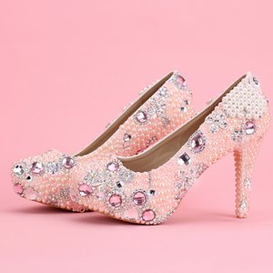 Wholesale Women Pink Elegant Fashion Crystal Pearl Tassel Diamond High Heel Pumps Platform Wedding Shoes For Bride Girl Formal Dress Shoes