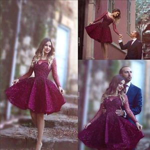 2019 Burgundy Lace Sequined Short Cocktail Party Dresses Sheer Long Sleeves Scoop Mini Girls Formal Prom Homecoming Gowns