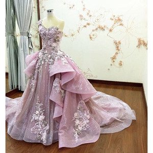 Wholesale Real Image Prom Dresses Detachable Train Sheer Neck Ruffle Flower Applique Beads Evening Dress Spring Summer Crystal Luxury Pink Party Gowns