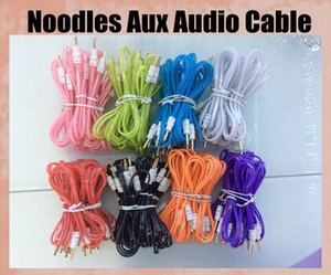 Wholesale Flat noodles Audio Cables Connectors with clearedge half transparent white head male to male AUX audio cord fit iphone g ipad mini CAB037