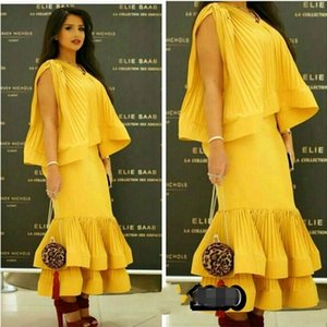 Saudi Arabia Party Dresses Yellow Sheath Ankle Length Tiered Prom Dress with Crew Neck Pleat Layered Elegant Evening Dresses Long 2015 on Sale