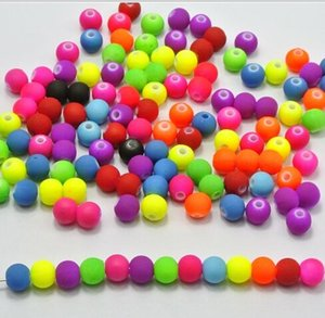 Wholesale mm Fluorescent DIY Acrylic Gumball Neon Disco Beads matte spacer loose beads Jewelry Findings