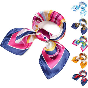 Wholesale 60 cm Women Silk Square Scarves Stripe Plated Magic Satin Scarf Lady Small Kerchief Towel Scarf