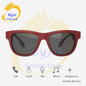 Wholesale Newest Bluetooth headset sunglasses music microphone bone conduction Open type headset touch control compatible with myopia lens