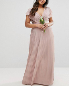 Wholesale 2019 Sexy V-neck Chiffon Women Bridesmaid Dresses Elegant Draped A-line Floor Length Country Style Evening Dress Girls Plus Size Bridal Wear