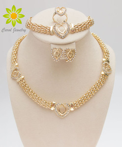 Free Shipping Dubai 18K Gold Plated Heart Shape Necklace Set Fashion Crystal Wedding Bridal Costume Jewelry Ses